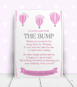 Personalised Baby Shower Message From Baby Table Party Sign Print Bump Keepsake