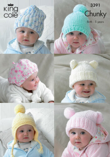 King Cole Chunky Knitting Pattern Baby Chapeau Souple Bonnet Beret Casque 3391