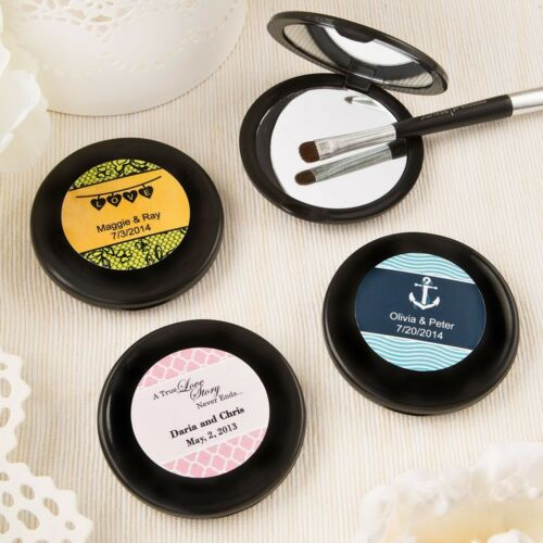 144 Personalized Black Compact Mirrors Wedding Showers Bridal Shower Party Favor