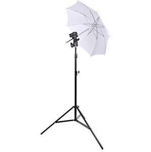 Photo-Photagraphy-Studio-Light-Stand-White-Umbrella-Flash-Mount-Hot-Shoe-Set