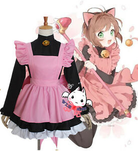 Image Is Loading Cardcaptor Sakura Black Cat Pink Maid Servant Dress