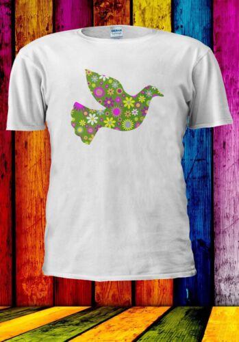 Peace Floral Bird Flower Symbol Men Women Unisex T-shirt 978