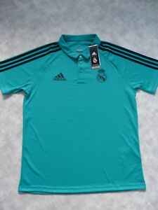 3ba94077f8 Image is loading Real-Madrid-Adidas-Teal-Polo-Training-Shirt-Large-
