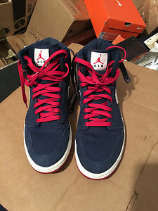 6e637020c2bc NIKE AIR JORDAN 1 HIGH STRAP MIDNIGHT NAVY BLUE-RED SZ 12 CANVAS ...