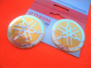 Yamaha Genuine Vintage Classic Gold Metal Tank Badge 55mm X 2 Uk Stock Ebay