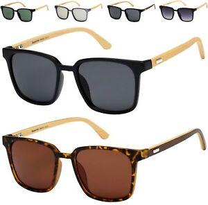 Herren Damen Sonnenbrille Bambus Holz Quadrat Groß Retro Vintage UV400 D2z4h