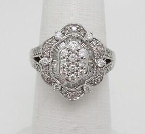 Zales Vintage Style 1ct Diamond Cocktail Anniversary Band Ring 14k White Gold Ebay