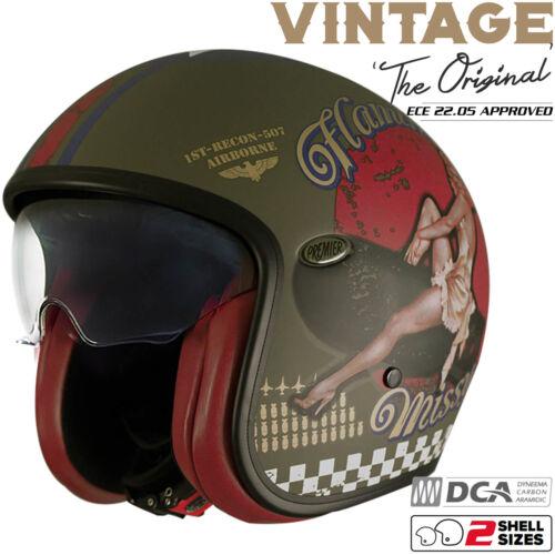 PREMIER Helm VINTAGE PIN UP MILITARY olive Jethelm Visier Classic Retro S 55//56