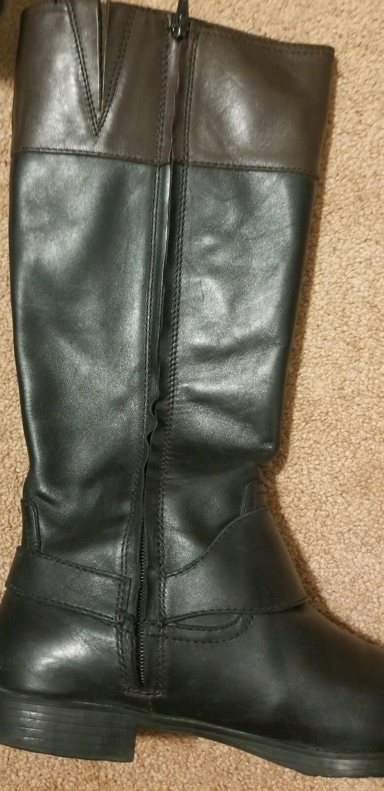 RALPH LAUREN SULITA Black w  Brown Top Leather Leather Leather Zipper Riding Boots Size 10 5b03e4