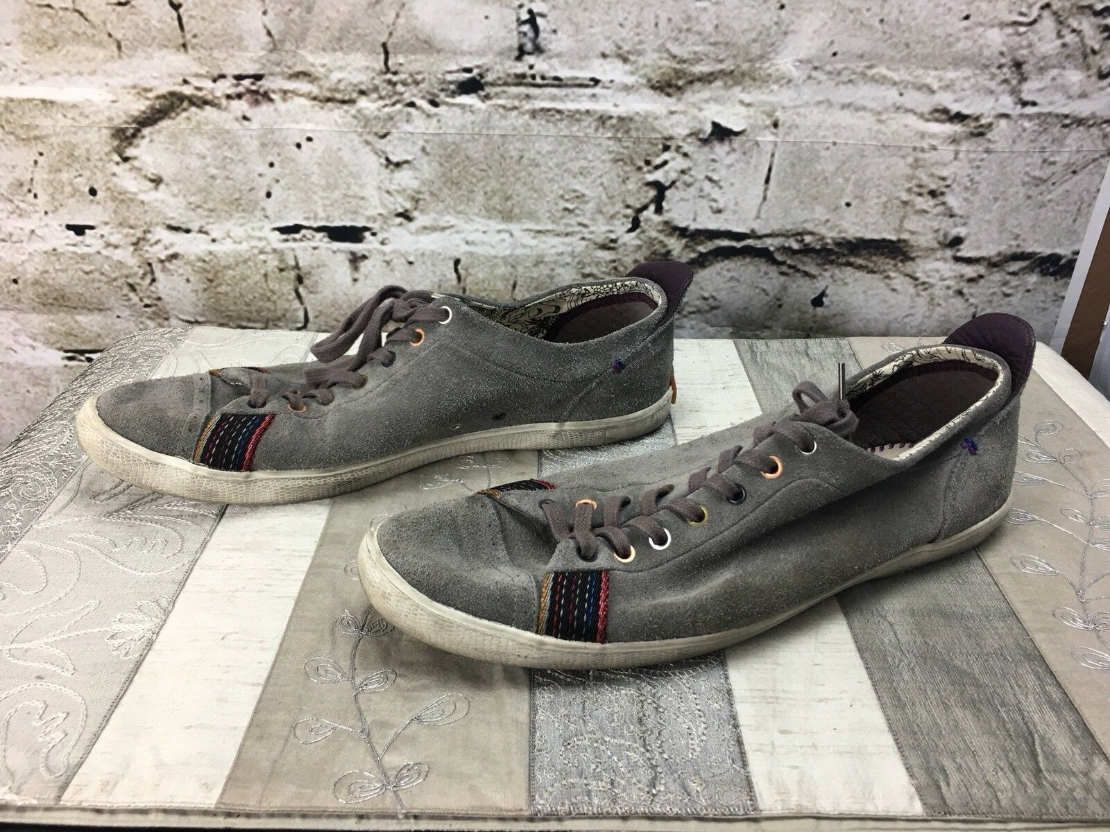 Paul Smith VESTRI Grey Leather Suede Tie Up Flat Sole Shoes