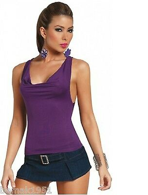 Purple Sleeveless Cowl Front O-Ring Back Top Espiral Lingerie Medium NIP 9702