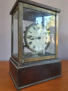 *As Found* Antique Eureka 2939 4 Glass & Brass Frame Wooden Mount Mantel Clock
