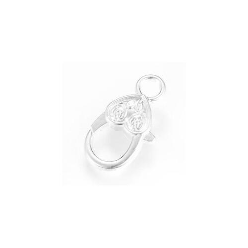 Cuore Aragosta Ganci di lega di metallo argento 14x27mm 4 PZ afindings gioielli fai da te