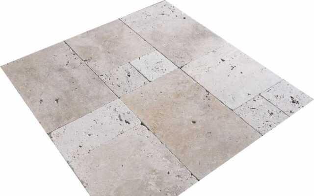 Terrassenplatten aus hochwertigem Travertin Silver Naturstein römischer Verband