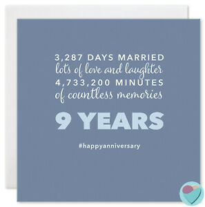 Wedding Anniversary Card 9 Years Blue Nine 9th Husband Wife 3 287 Days Married Ebay