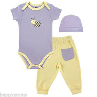 Hudson Baby Girls 3 Pcs Purple Bamboo Layette Set Bodysuit&pants Cap 0-3 Mon