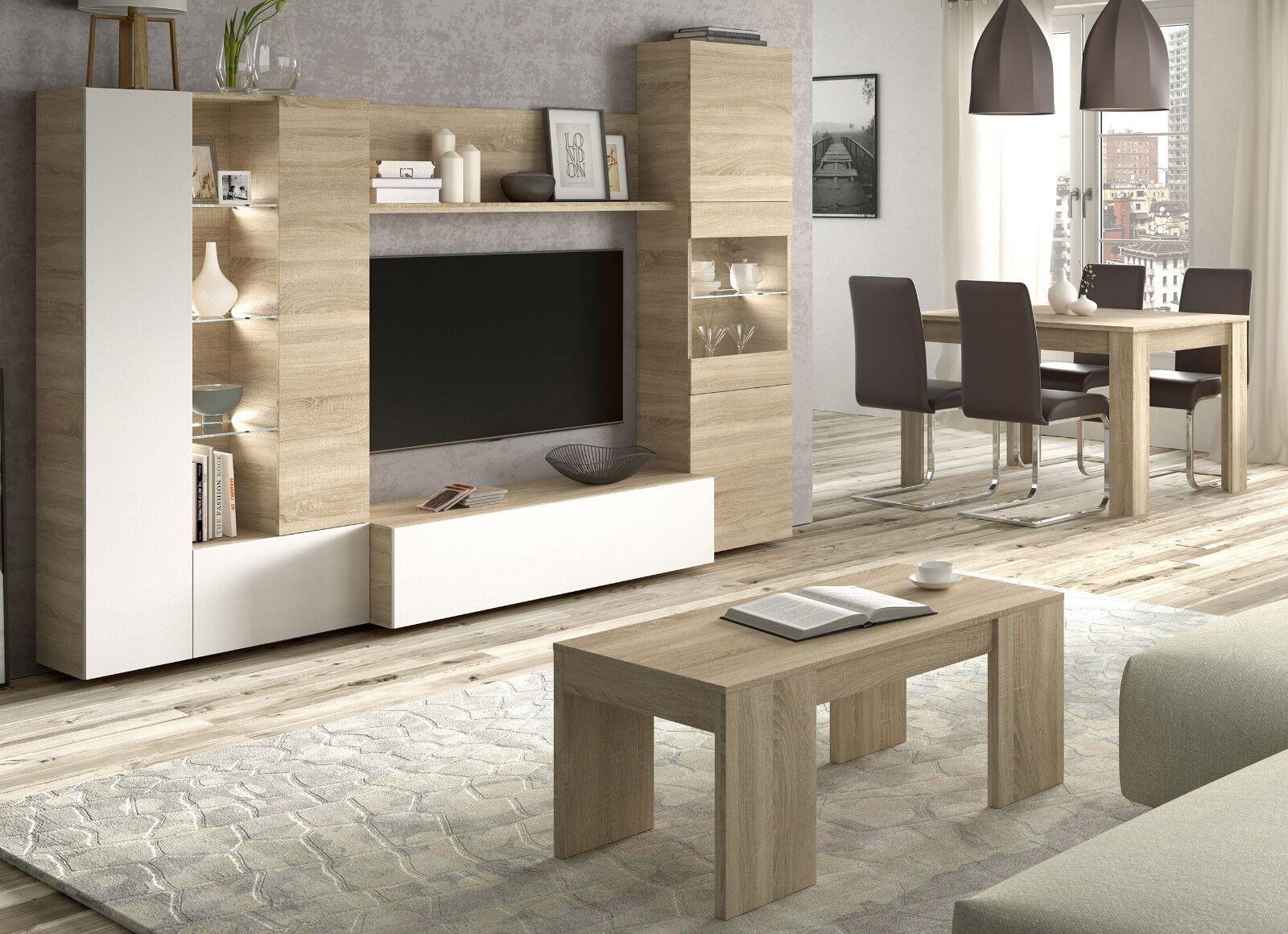 Pack mobiliario salon comedor con luz LED mueble TV mesa centro y...