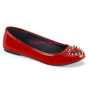 Sexy-BALLERINE-ROSSE-tacco-flat-da-36-a-41-ritaglio-CUORE-borchie-scarpe-GLAMOUR