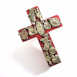 Tin Milagros Mexican Handmade Folk Art 4x2.9 Wood Cross Red Wall Ornament