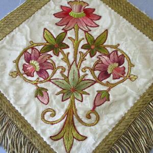 "Antique 19thC 14"" SILK Panel Hand Embroidered LILIES GOLD Metallic Trim + Fringe"