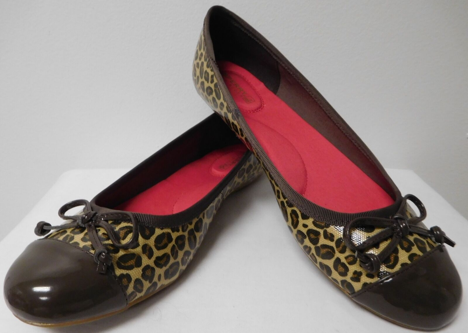 SPERRY TOP-SIDER LEOPARD ANIMAL PRINT PATENT CAP TOE BALLET FLATS COAT CANVAS 8