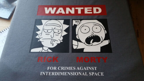 Rick and Morty Wanted poster women/'s T-shirt available in 3 colours