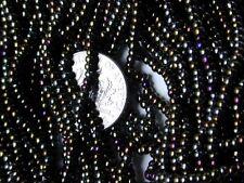 Blue Green Pewter Bronze Purple Shiny Vintage Glass Seed Beads Hank (9274524)