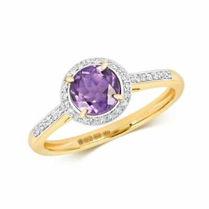 Hallmarked 9ct Yellow Gold Diamond & Amethyst Ring Sizes J-Q New