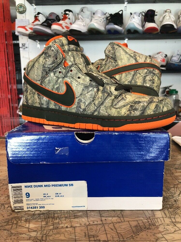 Nike Dunk Mid Pro Sb Realtree Mid Sz 9 Dark Army Orange Blaze Ds New