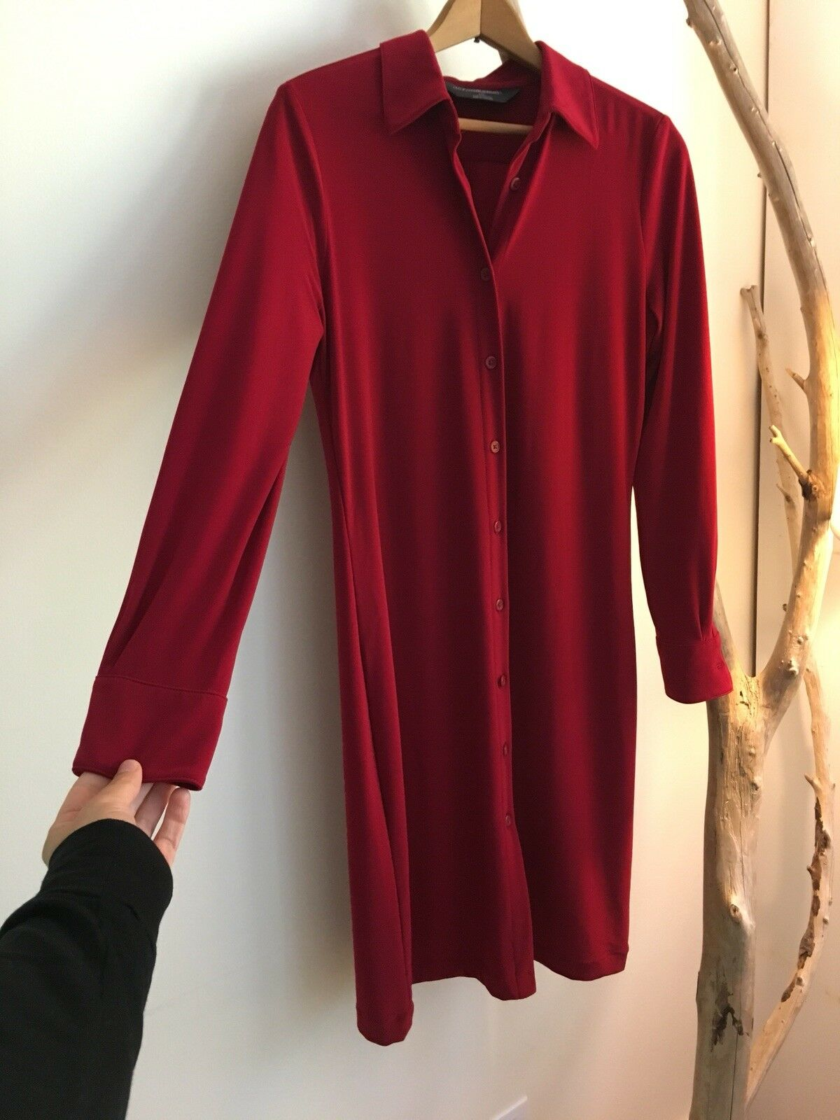 Gorgeous Norma Kamali Red Button Down Dress Duster, Size Small