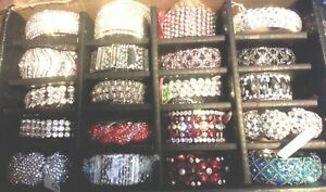 Discount-New-Rhinestone-Bracelets-Clear-AB-Red-Black-Gray-Turq-and-Purple