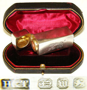 Antique-Sterling-Silver-Perfume-Smelling-Salts-Decanter-in-Domed-Leather-Box