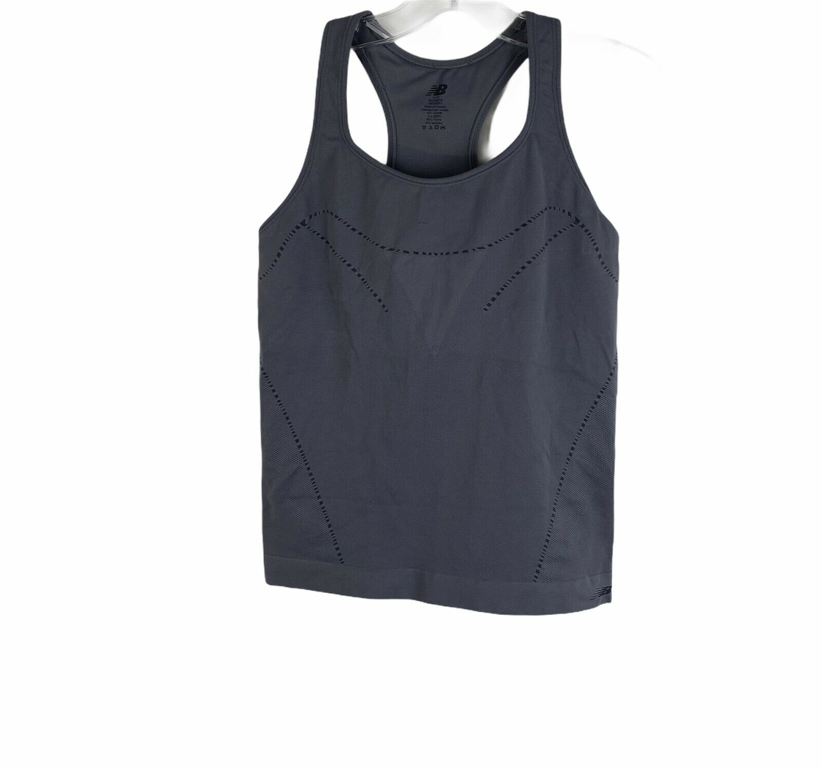 New Balance Gray Seamless Scoop Neck Athletic Tank Top Stretch Womens Size Large