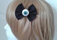 Pastel Goth Eyeball Bow Hair Clip. Gothic. Lolita. Creepy Cute. Dark.