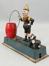 Antique 1920s Cast Iron Hubley TRICK DOG & Clown Mechanical Bank NR
