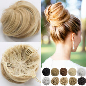 Real-Natural-as-human-Clip-on-in-Messy-Hair-Bun-Extension-Chignon-Hair-Piece-US