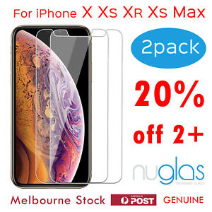 2x-Apple-iPhone-X-XR-XS-Max-Tempered-Glass-Screen-Protector-GENUINE-NUGLAS-9H