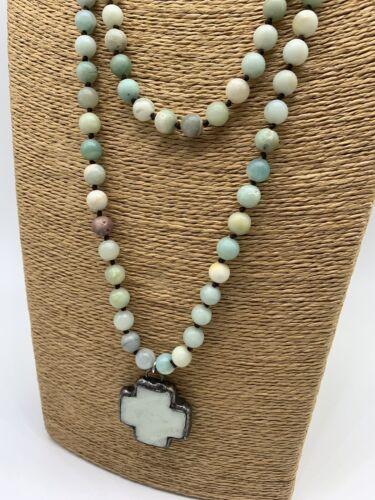 Fashion semi precious stone long knot amazonite Cross Pendant Necklace