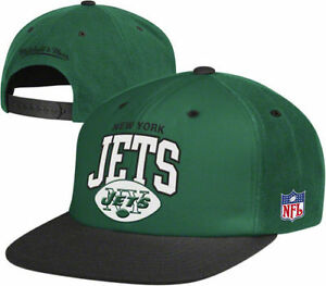 6f7f9112f93d81 NFL Mitchell & Ness New York Jets Throwback Arch Snapback Adjustable ...