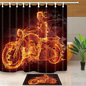 Fire Skeleton Riding Motorcycle Bathroom Fabric Shower Curtain Liner Bath Mat