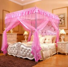 Item 2 Pink Ruffled Four 4 Post Bed Canopy Netting Curtains Sheer Panel Corner ANY SIZE