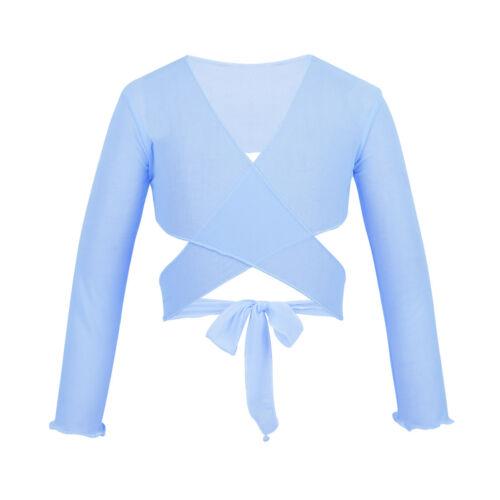 Kids Girls Lace Ballet Gymnastics Wraps Top Cardigan Dance Wear Sweaters Dress