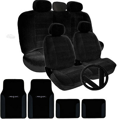 10 pieces Black Velvet For Honda A Full Set Car Seat Covers w//Headrest Covers
