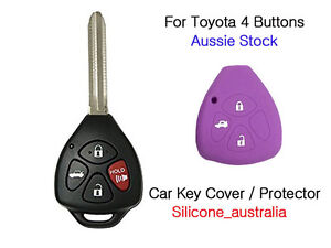 4 Button Silicone Car Key Cover Protector fits Toyota Corolla Hilux Yaris Camry