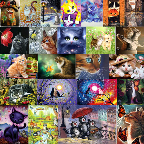 Cute Cat 5D Diamond Painting DIY Embroidery Cross Stitch Kit Mosaic Home Decor