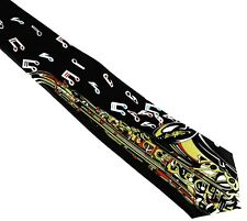 Gents Satin Feel Novelty Black Tie with Colourful Saxophone Design Print