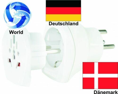 Voyage adaptateur monde sur le Danemark Allemagne prises Adaptateur 2er set
