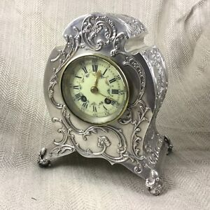 Antique-English-Silver-Mantle-Clock-William-Comyns-Art-Nouveau-Hallmarked-1900