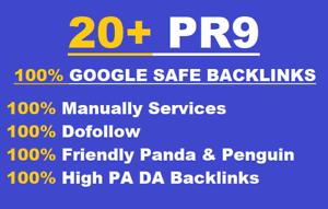 20+ PR9  Permanent Backlinks DA 80+ manually quality seo service