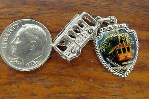 Vintage-silver-SAN-FRANCISCO-CALIFORNIA-TROLLEY-CABLE-CAR-charm-CHARMS-LOT